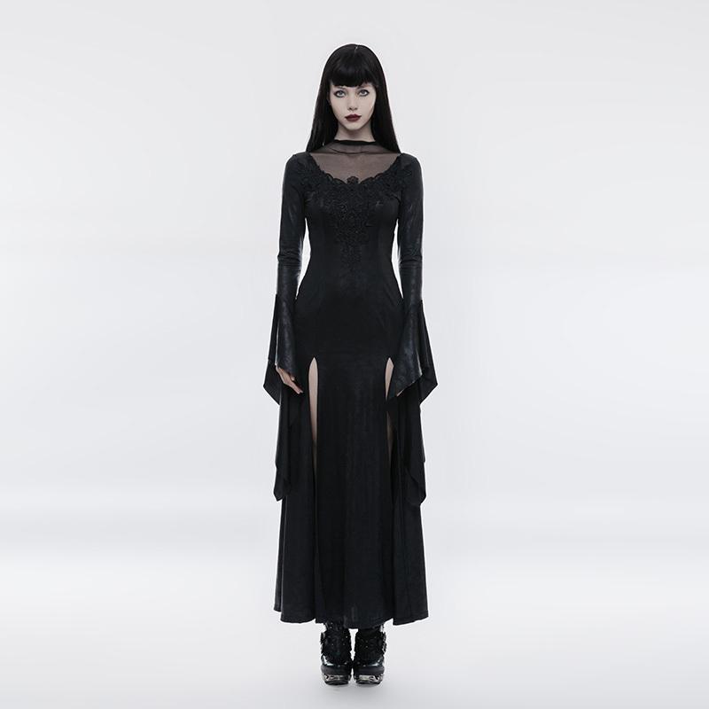 Langes Wetlook Gothic-Kleid Sparkle mit Trompetenärmeln
