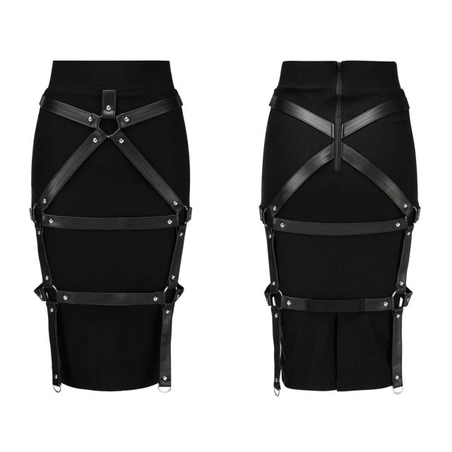 KILLSTAR Rock Bad Bonds Midi Skirt. Schwarzer schmaler Gothic Rock