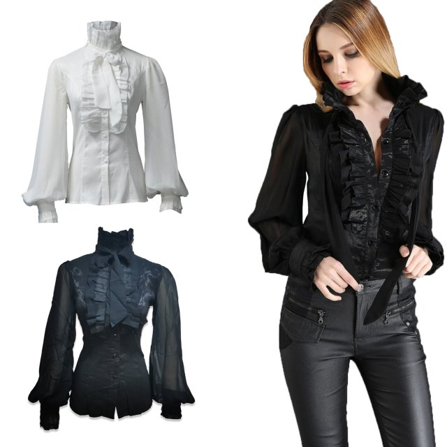 Bezaubernde Damen Steampunk Slim-fit Bluse in schwarz...