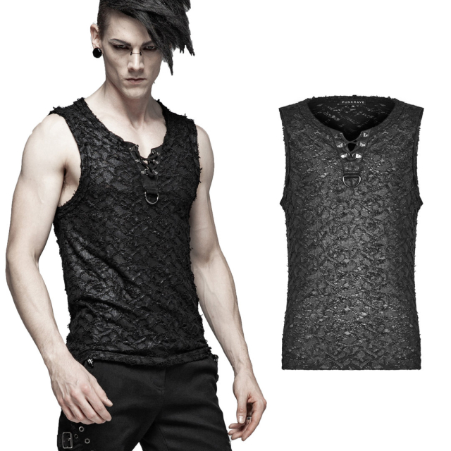 Punk Rave Tank-Top Decay im Destroyed Look - Größe: S-M