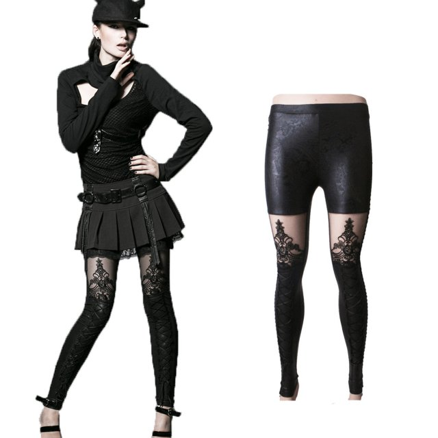 Schwarze Damen Gothic Wetlook Stretch-Leggings / Hose von...