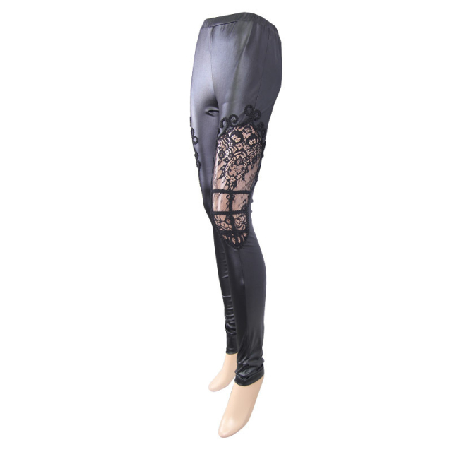 Wetlook Stretchleggings Elaila mit Spitzeneinsatz