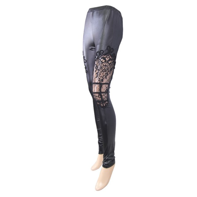 Schwarze Wetlook Stretch Leggings mit transparentem...