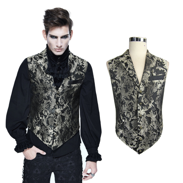 Devil Fashion WT012 schwarz gold farbene kurze Brokat...