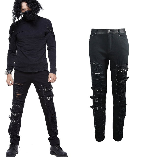 Punk- / Gothic-Stretch-Jeans Tornado in Destroyed Optik...