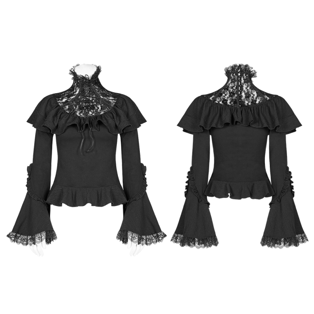 Volant shirt Sweet Sorrow with high lace collar and...