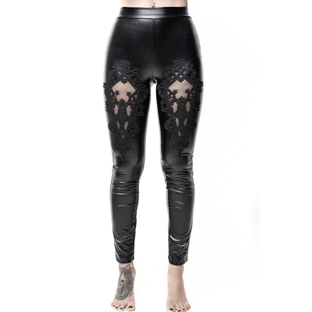 KILLSTAR Lovelace Wetlook-Leggings mit Spitzeneinsatz L