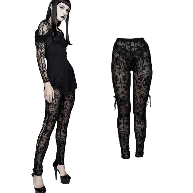 Devil Fashion Leggings mit samtigem Flock-Muster PT10701...