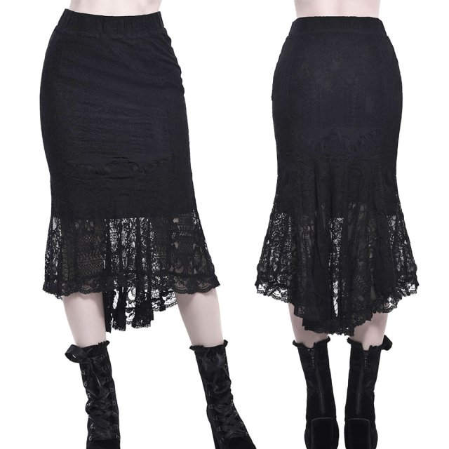 KILLSTAR Elora Skirt Gothic Steampunk Fishtail-Spitzenrock