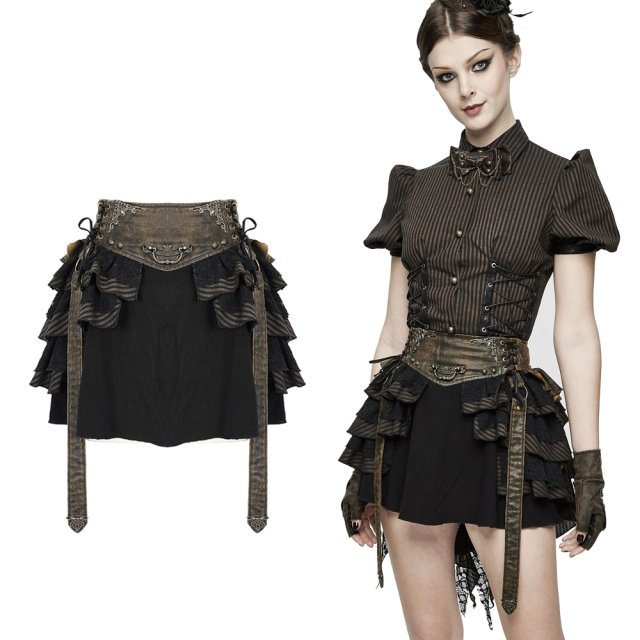 Devil Fashion Steampunk-Minirock SKT107 mit Volants in...