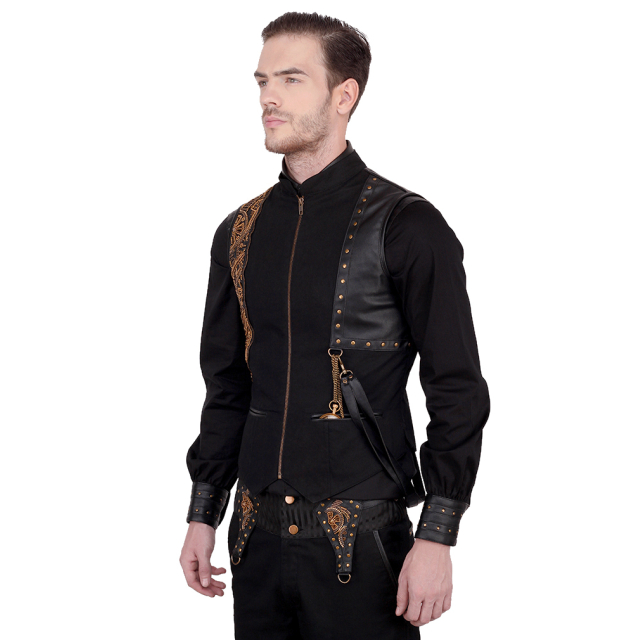 schwarze Steampunk-Weste  Noble Gear