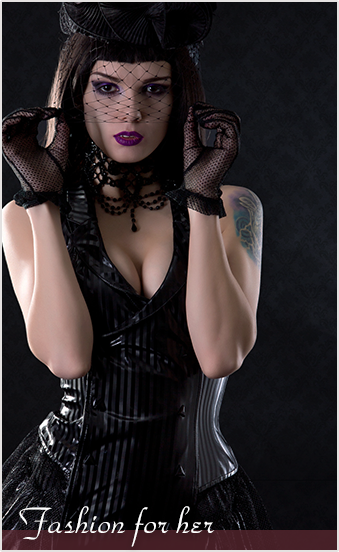 Fancy gothic and steampunk fashion for women from top brands like PUNK RAVE and Killstar
