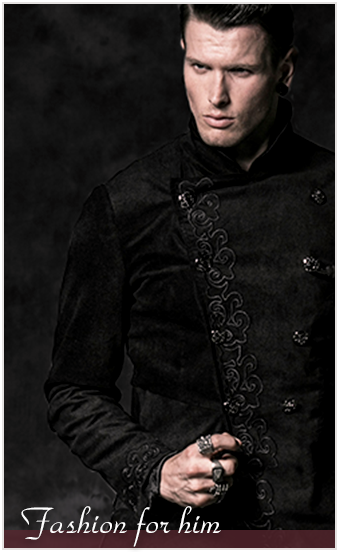 Cool gothic and steampunk fashion for men from fancy cyber styles to Victorian opulence from brands like PUNK RAVE